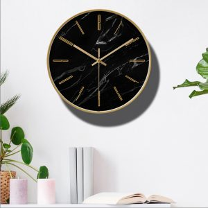 Marble Wall Clock Simple Decorative Creative Nordic Modern Marble Metal Clock Wall Clock for Living Room 5