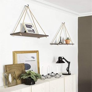 Wooden Swing Hanging Rope Wall Mounted Shelves Plant Flower Pot Rack Indoor Outdoor Decoration Shelf With 1