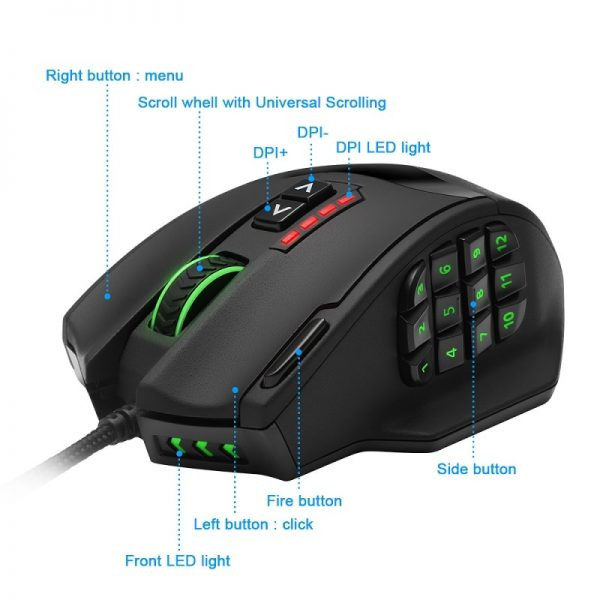 19 Buttons Gaming Mice USB Design