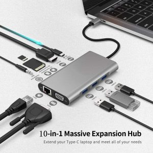 Bakeey 10-in-1 USB-C HUB Docking Station Adapter With USB-C PD 100W Power Delivery/HDMI/Memory Card Readers/3.5mm Audio Jack/LAN/VGA/USB3.0*3