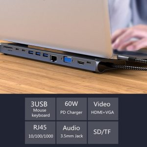 Bakeey 12-in-1 USB-C Type-C Hub Adapter With 3 * USB 3.0 Ports / 2 * Type-C Ports / 60W Type-C PD Charging Port / 4K HD Display Interface / VGA / Gigabit RJ45 / 3.5mm Audio Jack / Memory Card Readers