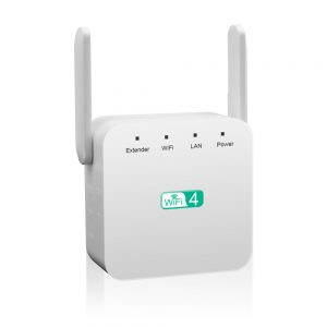Bakeey 300Mbps 2.4GHz WiFi Range Extender EU/US Wall Plug Repeater Wireless Signal Booster Dual Antenna with Ethernet Port for Phones TV Xbox Laptop