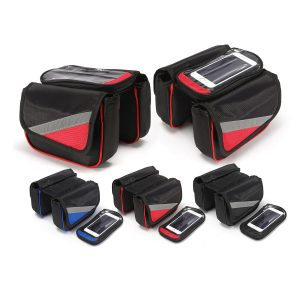 Bicycle Front Frame Tube Touch Screen Saddle Bag Pouch Holder For Under 5.7 Inch Mobile Phone