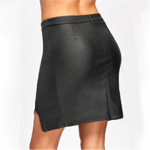 Black Leather Skirt Lace Accent