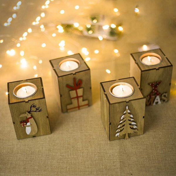 Christmas Candle Holder Wooden Decor 1