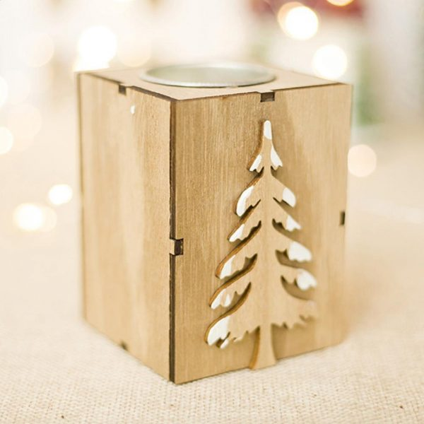 Christmas Candle Holder Wooden Decor 2