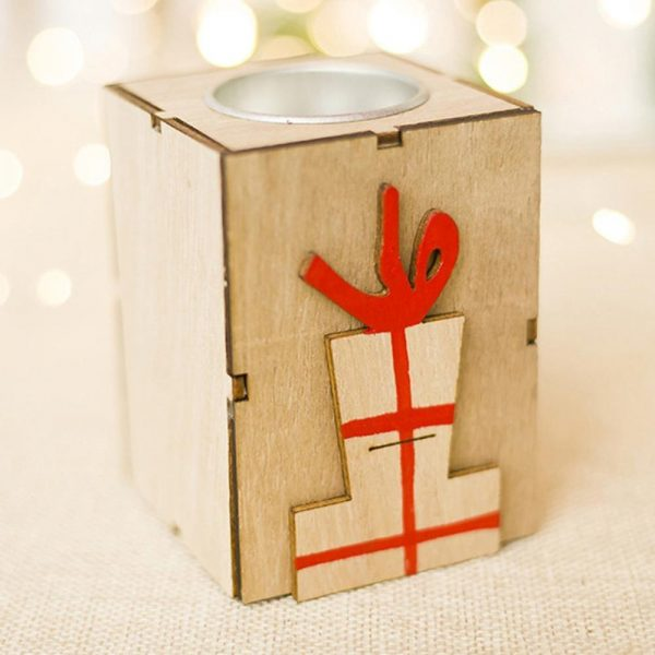 Christmas Candle Holder Wooden Decor 4