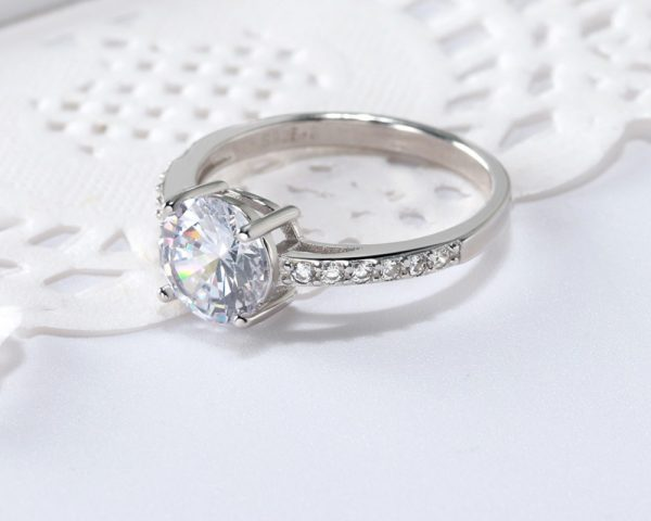 Cubic Zirconia Silver Engagement Rings