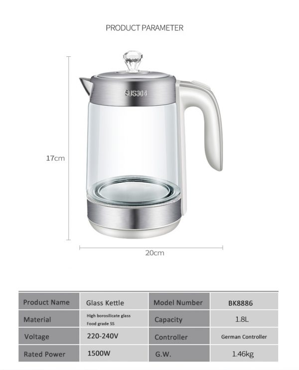 Electric Kettle Cordless Glass Heater 2