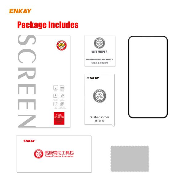 Enkay 125 Pcs for iPhone 11 Pro Max XS Max Front Flim 9H Anti Explosion Full Coverage Tempered Glass Screen Protector 4