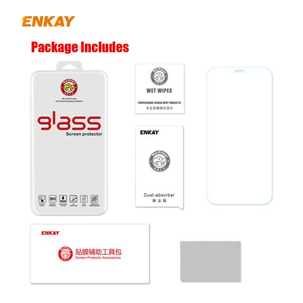 Enkay 12510Pcs Crystal Clear 2.5D Curved Edge 9H Anti Explosion Anti Scratch Tempered Glass Screen Protector for iPhone 12 Pro Max 5