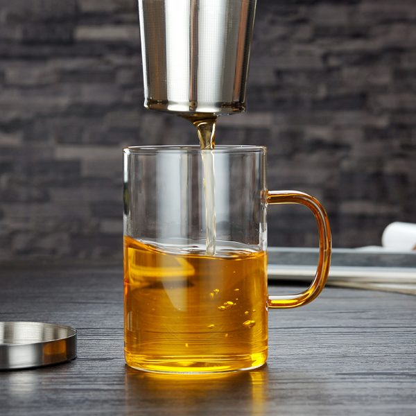 Glass Tea Infuser Cup with Cover 2