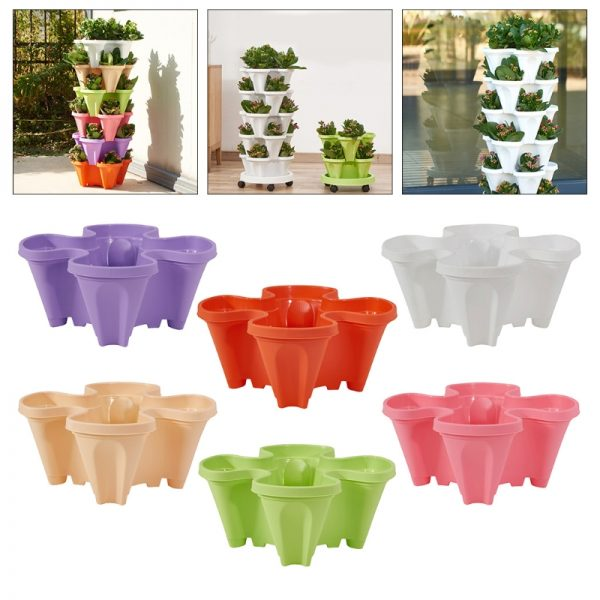 Great Stand Stacking Planters Strawberry Planting Pots 9
