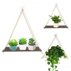 Hanging rope rack Wall Mounted Shelves Plant Flower Pot Rack Beautiful Decoration