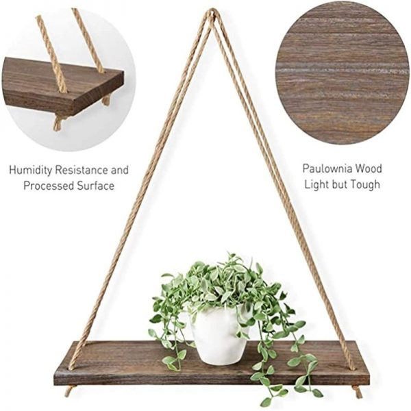 Hanging rope rack Wall Mounted Shelves Plant Flower Pot Rack Beautiful Decoration 4