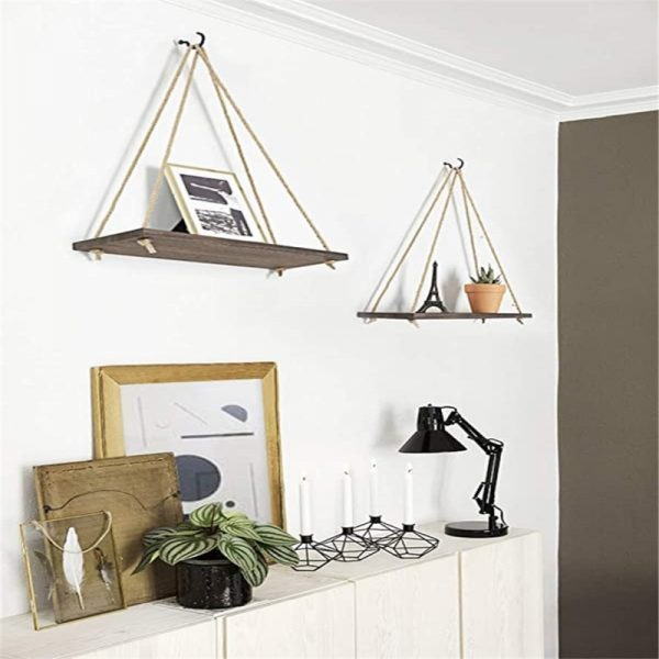 Hanging rope rack Wall Mounted Shelves Plant Flower Pot Rack Beautiful Decoration 5