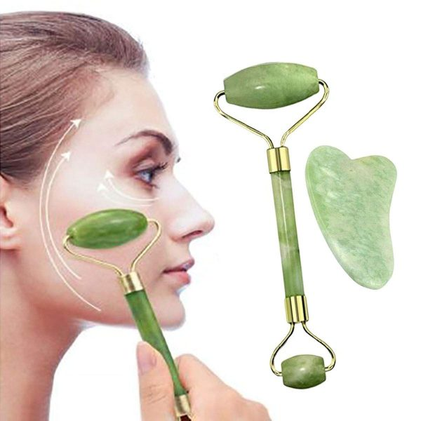 Jade Facial Massage Roller Gua Sha Tool