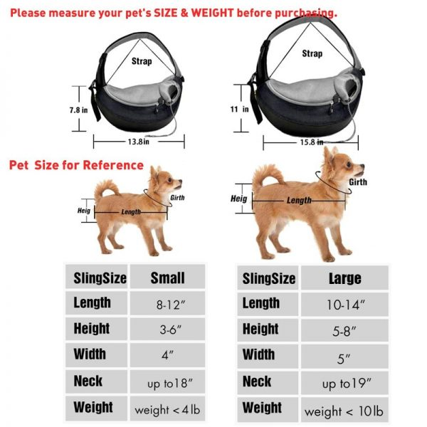 Pet Sling Carrier Portable Mesh Bag