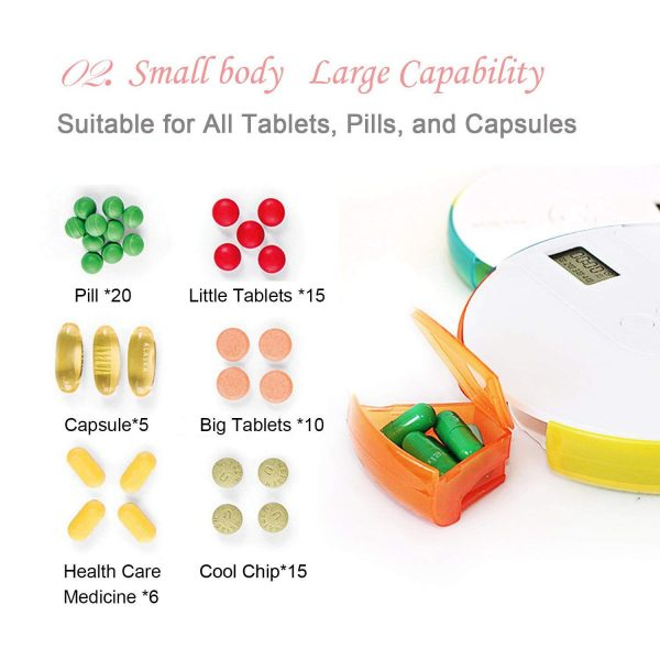 Pill Alarm Box Weekly Container 4