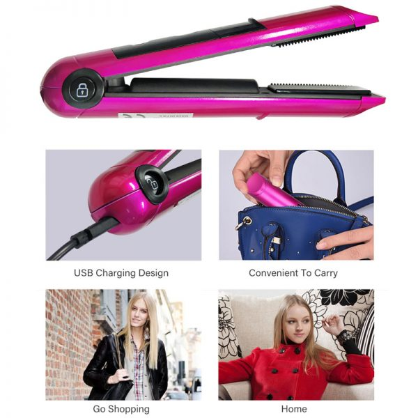 Rechargeable Mini Flat Iron Hairstyling Tool 4