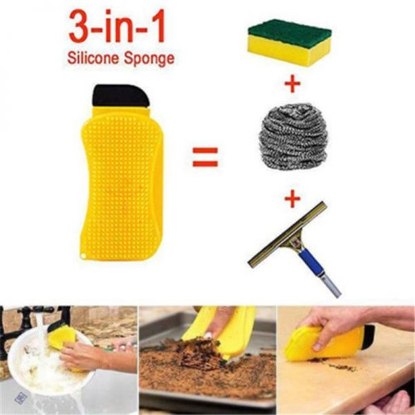 Silicone Dish Sponge 3-in-1 Cleaner