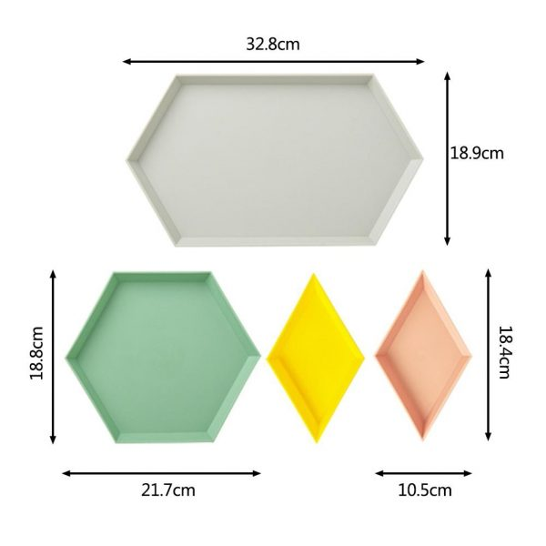 Snack Tray Stackable Geometric Shapes 4pcs 4