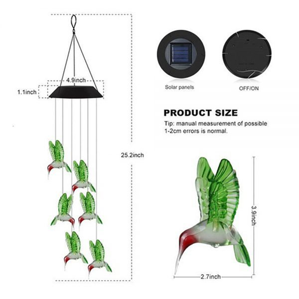 Solar Color Changing Wind Chime Light 8