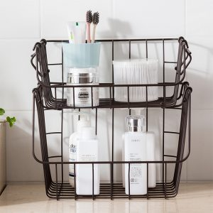 Stackable Wire Baskets Two-Layer Organizer