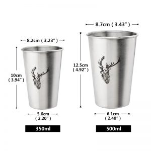Stainless Steel Drinking Glass Cup with Straw