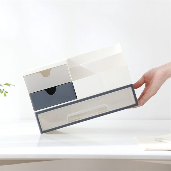 Storage Box 2 Layers Desk Office Organizer Storage Holder Concise and Clean 2
