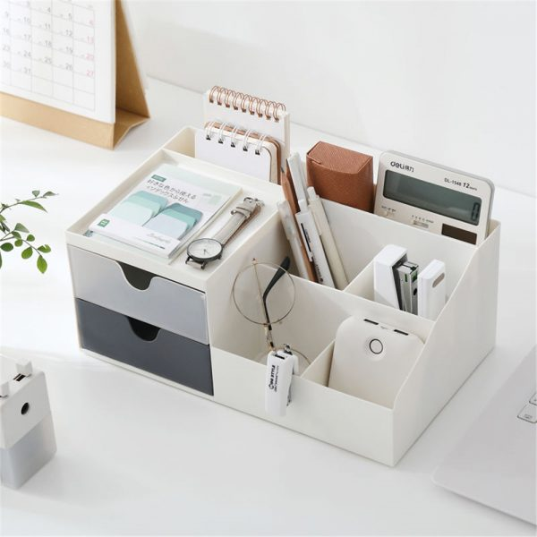 Storage Box 2 Layers Desk Office Organizer Storage Holder Concise and Clean 5