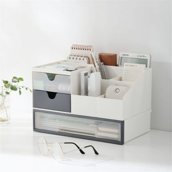Storage Box 2 Layers Desk Office Organizer Storage Holder Concise and Clean