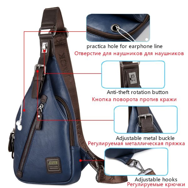Theftproof Leather Chest Man Bag 1
