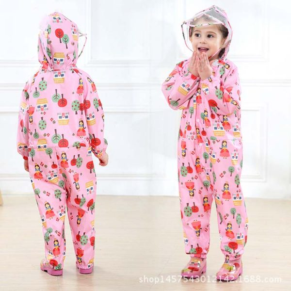 Toddler Raincoat Hooded Overalls 1