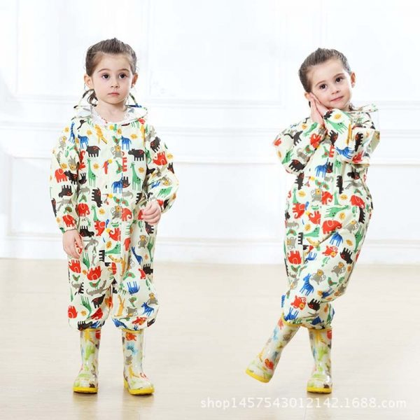 Toddler Raincoat Hooded Overalls 2