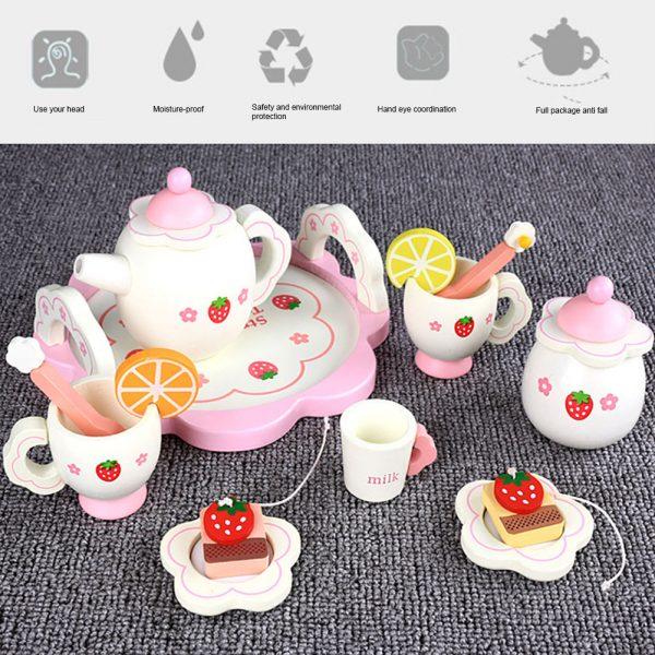 Toy Tea Set Kids Pretend Play 15Pcs 4