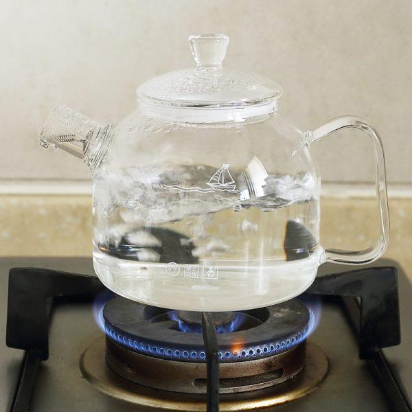 Transparent Teapot High temperature Can open fire Beautiful Glass pot 900ml