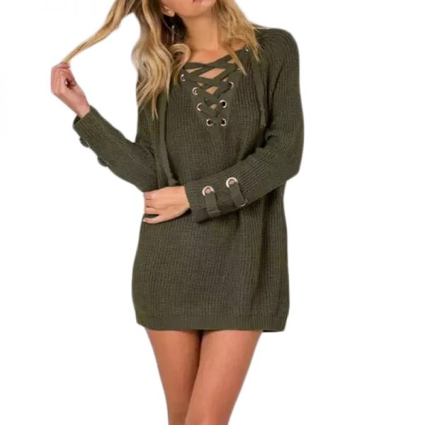 V Neck Sweater Laceup Top 1