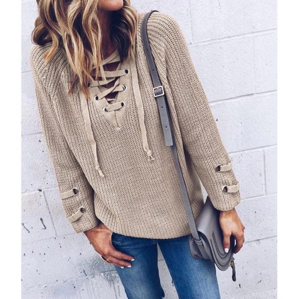 V Neck Sweater Laceup Top 2