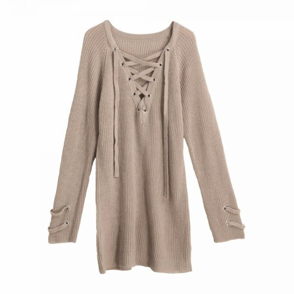 V Neck Sweater Laceup Top 3