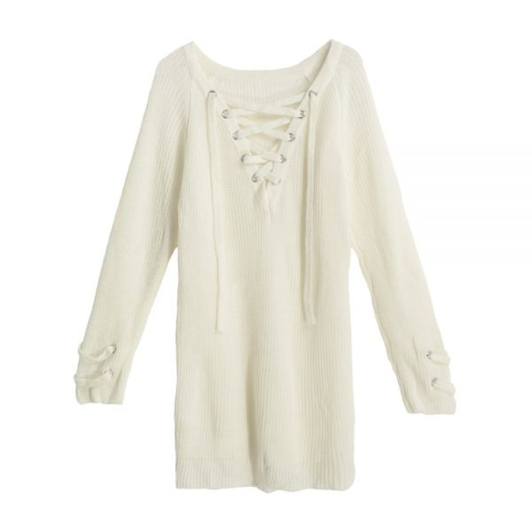 V Neck Sweater Laceup Top 4