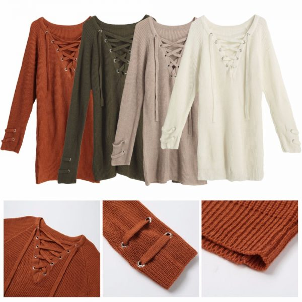 V Neck Sweater Laceup Top 5