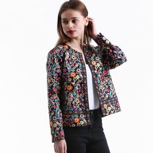 Womens Spring Jacket Multicolored Collarless