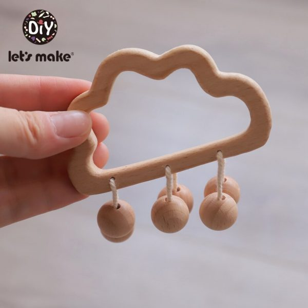 Wooden Baby Rattle Cute Baby Teether 1