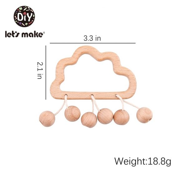 Wooden Baby Rattle Cute Baby Teether 4