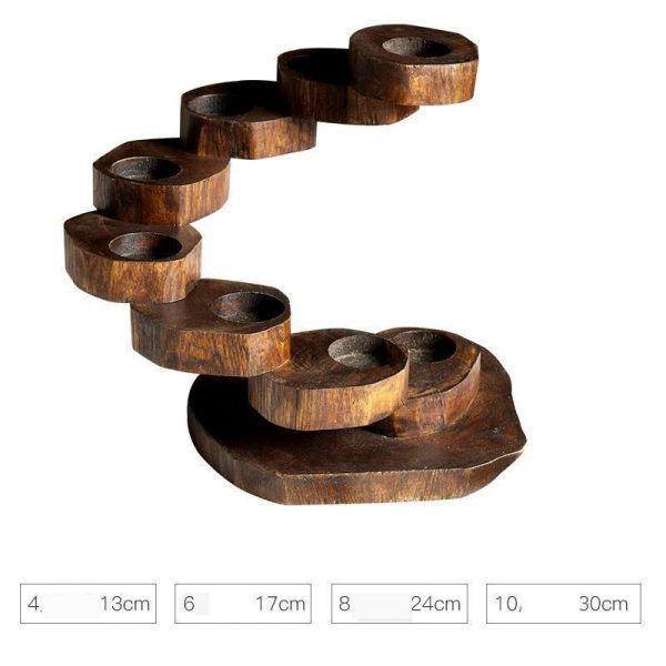 Wooden Candle Holders Retro Design 2