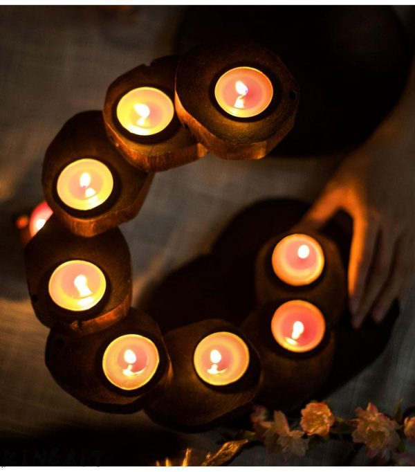 Wooden Candle Holders Retro Design 4