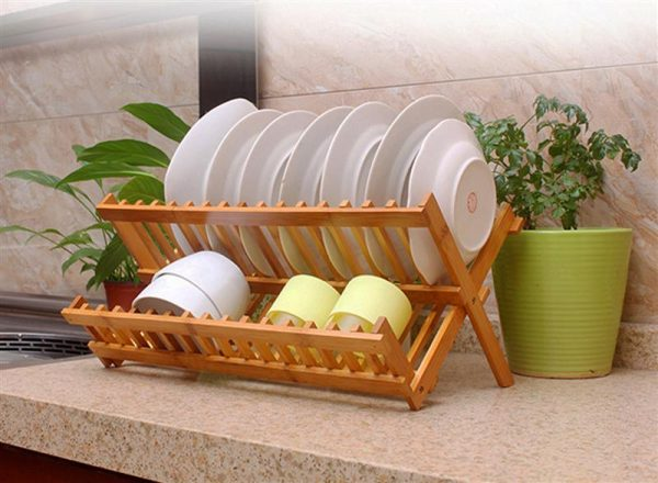 Wooden Dish Rack Foldable Plate Drainer 1