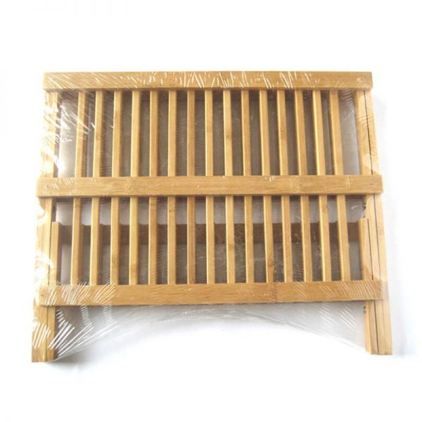 Wooden Dish Rack Foldable Plate Drainer 2