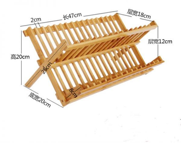 Wooden Dish Rack Foldable Plate Drainer 4